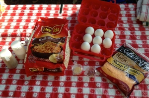 Ingredients for Eggs in a Nest Mountain Pie